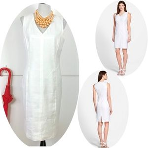 New Lafayette 148 NY Linen Blend Sheath Dress 10